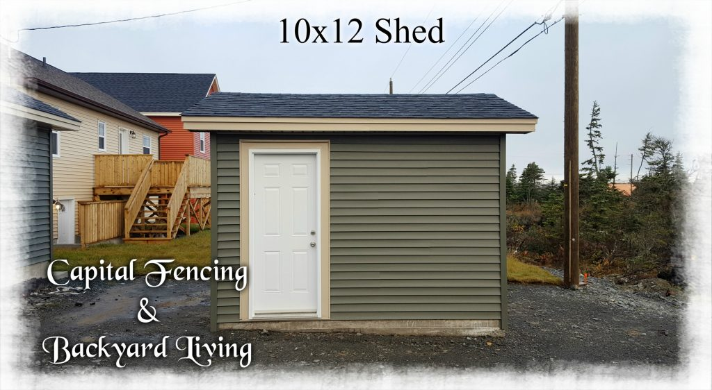 """10x12 Shed on a concrete slab, Matching siding and shingles to clients home, 1- 6x7 Overhead Door, 1- 32"""" steel door, metal fascia and vinyl soffit"""