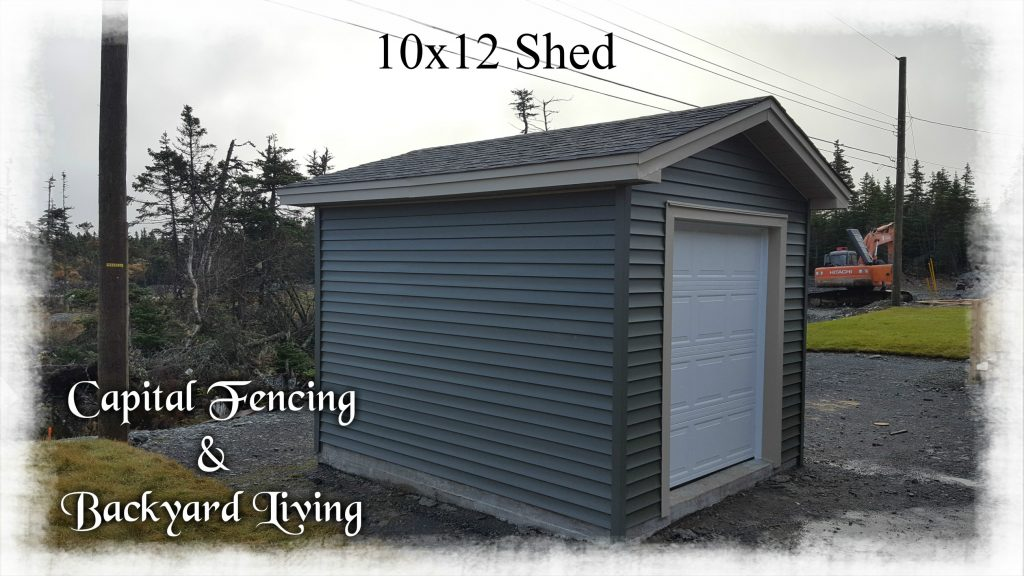 """10x12 Shed on a concrete slab,Matching siding and shingles to clients home, 1- 6x7 Overhead Door 1- 32"""" steel door, metal fascia and vinyl soffit"""