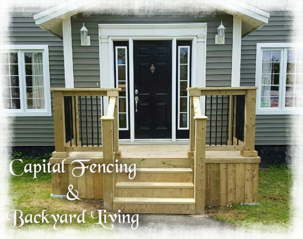 4x12 Front Deck with iron rod spindles, 6x6 posts, Steps & handrail's