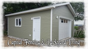 18X24 Garage with a 3 window 10X7 Overhead door, Metal Fascia/Vinyl soffit, Steel Door & window.