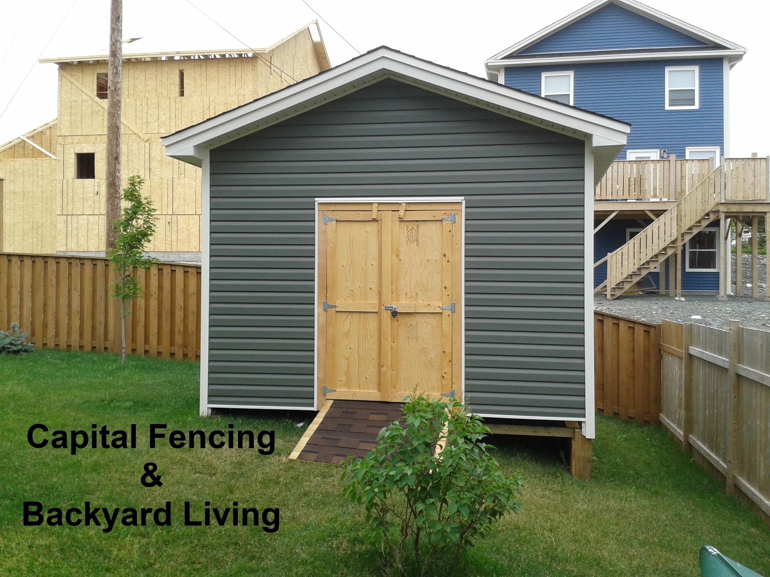 Sheds garages capital fencing and backyard living 12x12 overhead garage door