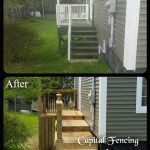 Before and After of the side of the house deck